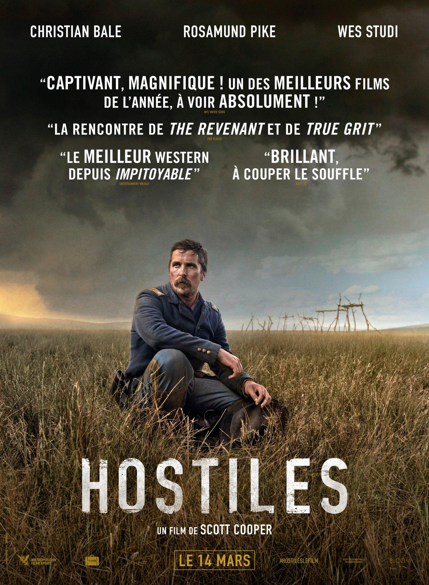 «Hostiles» : Un western humaniste, pro-amérindien et féministe de Scott Cooper avec Christian Bale et Rosamund Pike