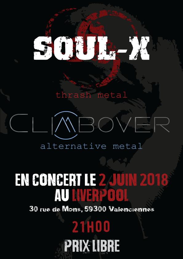 Soul-X + Climbover au Liverpool pour un concert métal