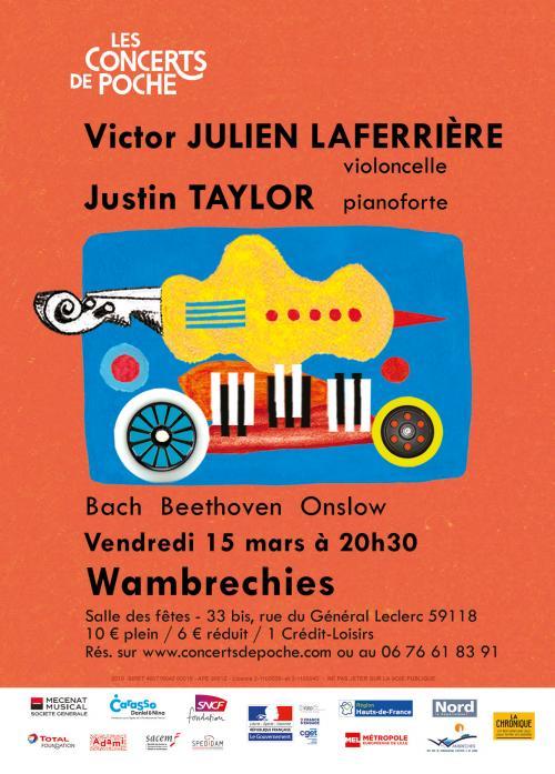 Victor Julien-Laferrière au violoncelle et Justin Taylor au piano
