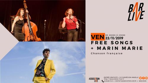 Free Songs + Marin Marie au Bar Live