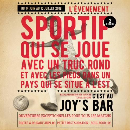 Retransmissions des matchs de la Coupe du Monde au Joy's bar